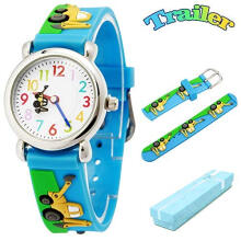 Keymao Trailer Waterproof 3D Cute Cartoon Silicone Wristwatches Gift for Little Girls Boy Kids Children Blue