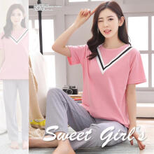 Farfi Women Two Pieces Sleepwear Suit Short Sleeve Top Solid Color Pants Pajamas Set