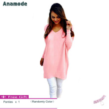 Anamode Women V Neck Sweater Long Sleeves Knitted Pullover Fashion Basic Knitwear -Pink -