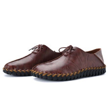 Zanzea Men Shoes Cow Split Leather Soft Comfortable Flats Dark Brown 44