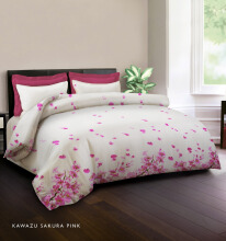 KING RABBIT Bedcover Single Motif Kawazu Sakura -Pink/ 140 x 230cm Pink