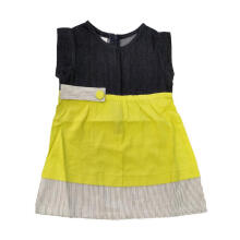 Tiny Button Garis Jeans Dress Anak - Hijau 3-4 tahun Dark Yellow 3-4 Years