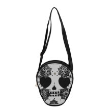 [LESHP]Fashion Women Mini PU Purse Skull Shoulder Handbag Satchel Bag Black