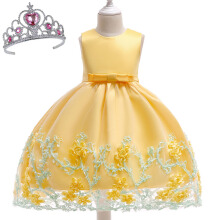SESIBI Size 70~150 Girls Princess Dresses Beautifyl Flower Dress Kids Elegant Party Bow-knot Clothes Wedding Gown -Yellow -