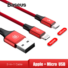 Baseus 2 in 1 USB Cable for iPhone X 8 7 Plus Charger Cable for Xiaomi Redmi OPPO Handphone HP Micro USB Cable