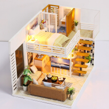 Jantens Miniature Super Mini Size Doll House Model Building Kits Wooden Furniture Toys Photo Color