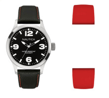 NAUTICA Watch BFD 102 Box Set Black/Red [NAI13538G]
