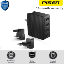 PISEN Power Combo Port 4 Charger Travel EU UK Plug Smart Fast Charge 2.4 A Garansi 18 Bulan