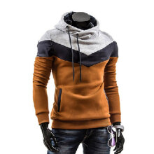 Men Thickened Long-sleeved Pullover Casual Loose Stitching Color Sweatshirt M