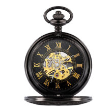COZIME Portable Vintage Carved Hollow Out Pocket Clock Pendant Watch Gift Black