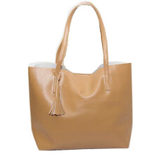 Tas Wanita Tote Bag Alice Bahan Kulit (High Quality) - Light Brown Beauty Gum