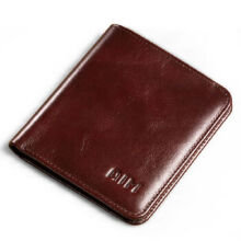 AIM A292 Men's leather Cowhide two fold Vertical section leather card holder wallet multi-function wallet-Coffee