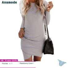 Anamode Women Stretch Dresses Slim Bodycon V-Neck Mini Dress Irregular Hem -Grey -