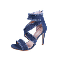 BESSKY Women Fashion Solid Denim Fine Heel Pointed Toe Zipper High Heeled Shoes_