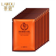 TOWER PRO LAIKOU Horse Oil Miracle Face Mask 10Pcs Moisturizing Hydrating Shrink Pores Clear