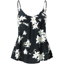 Women Summer Flare Floral Print Adjustable Strappy Tank Tops Camis Tunic Shirt