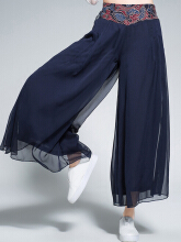 Ethnic Embroidery Patchwork Layered Wide Leg Women Pants Navy One Size