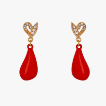 musheng jewelry new product 18k gold-plated micro-inlay zircon fashion red resin water drop shape fine earrings