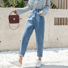 Vintage Plus Size High Waisted Boyfriend Jeans For Women Mom Baggy Jeans Tall Ladies Loose Denim Jeans Female Ankle Harem Pants Blue 25
