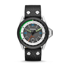 Diesel Rollcage - Black Round Dial 46mm - Leather Strap - Black - Jam Tangan Pria - DZ1717 - SL