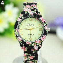 Farfi Women Geneva Floral Printed Band Round Dial Analog Quartz Wrist Watch