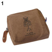 Farfi Classic Retro Lady Girl Canvas Eiffel Tower Coin Purse Wallet Card Key Pouch Bag