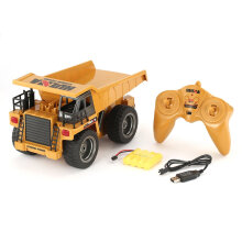 COZIME HUINA 1540 1/18 6CH RC Dump Truck Construction Engineering Vehicle Alloy Car Brown