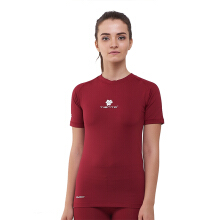 Tiento Baselayer Manset Compression Short Sleeve Maroon Baju Kaos Ketat Olahraga