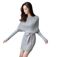 SiYing Fashion Lace-up Halter Bat Sleeve Solid Color Slim Mid-length Knit Dress