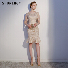 SHUMING-Evening dress fashion elegant banquet ladies party dress Slim Gold S