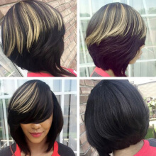 Aosen Short Side Bang Highlighted Bob Straight Synthetic Wig  Black and Golden