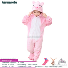 Anamode Kids Cartoon Clothes Parent-Child Homewear Siamese Pajamas Suit -Pink Pig -