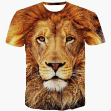 Fashionmall Mens Printing  3D Lion Short Sleeve Crew Neck Tee T-shirts