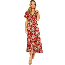 BESSKY Womens V-Neck Long Boho Dress Lady Beach Summer Sundrss Maxi Dress _