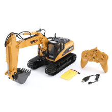 COZIME HUINA 1550 1/14 2.4G 15CH RC Alloy Excavator Truck Construction Vehicle Toy Brown