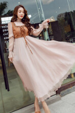 Allgood Fashion  Spring Simulation Two-piece Set women Lady Dress Balloon Expansion Womens Annual Party Dresses