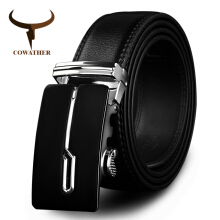 COWATHER designer belts cow genuine leather belts for men automatic alloy buckle black