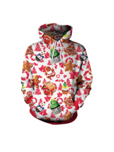 Zanzea 0051Plus Size Casual Women Christmas Hooded Sweatshirts Red XL