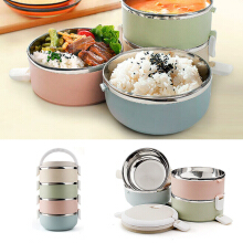 JDwonderfulhouse 1/2/3/4 Layers Stainless Steel Thermal Insulated Lunch Box Bento Food Storage Container One LayerMulticolor