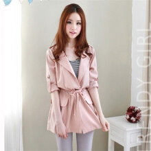 Leisure Overcoat Long Sleeve Bowknot Lace-up Turn-down Collar Solid Color Khaki