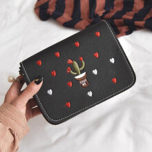 [LESHP]Embroidered PU Leather Shoulder Bag Crossbody Small Satchel Clutch Handbag Black