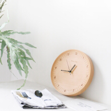 Original Xiaomi Mute Logs Wooden Simple Wooden Metal Pointer Wall Clock Home Decoration