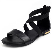 Jantens 2018 Genuine Leather Women Sandals Hot Sale Fashion Summer Sweet Women Flats Heel Sandals Ladies Shoes Black