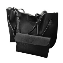 [LESHP]2PCS/SET Trendy Design Women Solid Color PU leather Shoulder Bag Tote Black