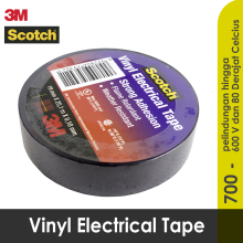 ISOLASI LISTRIK 3M / ELECTRICAL TAPE BERKUALITAS 700 SCOTCH TAPE Black Frame with red