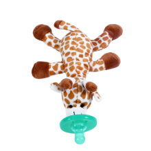 TOWER PRO Cute Funny Newborn Baby Silicone Animal Pacifier with Plush Toy Soother Brown