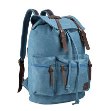 COZIME Vintage Style Canvas Backpack Outdoor Travel Large Capacity Student Schoolbag Blue