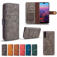MOONMINI For Huawei P20 Pro PU Leather Wallet Protector Shell Magnetic Closure Case with Card Slots Photo Frame Detachable Back Cover