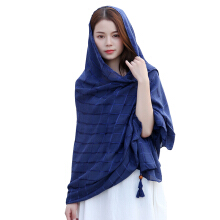 Qianyuanyuan fashion tassel square plaid high quality cotton and linen scarf