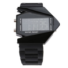 Plastic Cool Men's Oversized Light Digital Sports Quartz Rubber Wrist Watches Black